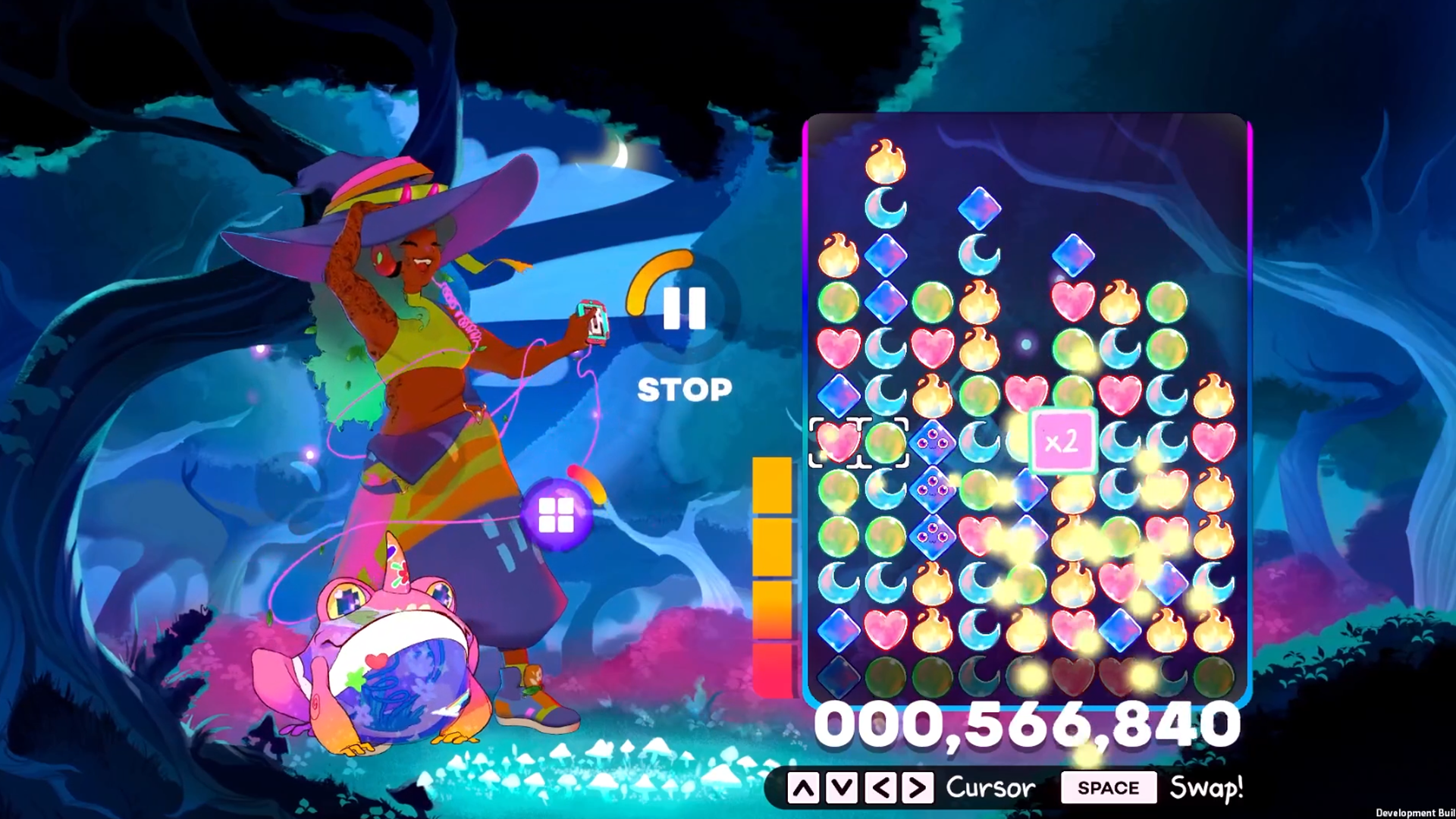 Gameplay of Spirit Swap. On the left stands Samar and her frog familiar, on the right is a game of match-3
